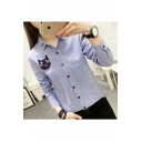 Striped Cartoon Cat printed Lapel Collar Long Sleeve Buttons Down Shirt