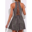 New Arrival Lace-Up Cutout Back Sleeveless Halter Neck Plain Mini Skater Dress