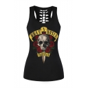 Hot Fashion Floral Skull Printed Scoop Neck Hollow Out Back Sports Tank