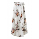 Floral Pattern Tie Waist Asymmetrical Midi Wrap Skirt