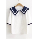 Chic Sailor Collar Half Sleeve Color Block Loose Leisure T-Shirt