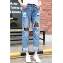 Fashion Stylish Fishnet Patched Ripped Straight Legs Capris Jeans