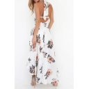 Sexy Open Back Halter Neck Floral Printed Maxi Asymmetrical Dress