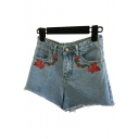 High Rise Floral Embroidered Fringe Trim Summer's Denim Hot Pants