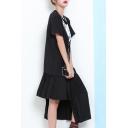 New Fashion Round Neck Short Sleeve Cartoon Printed Pleated Asymmetrical Maxi Dress