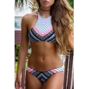 Women's Halter Tied Back Striped Tribal Printed Color Block Bikinis