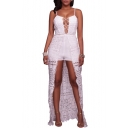 New Fashion Spaghetti Straps Lace Up Front Rompers with Lace Hem Back