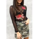 Summer's New Fashion Sheer Mesh Floral Embroidered Round Neck Long Sleeve T-Shirt