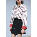 Color Block Vertical Striped Printed Lapel Collar Long Sleeve Shirt