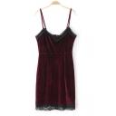 Sexy Spaghetti Straps Sleeveless Lace Patchwork Zip-Back Plain Mini Bodycon Club Dress