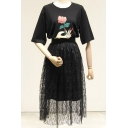 New Arrival Floral Printed Half Sleeve Tunic Tee with Lace Midi Skirt