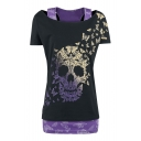 Fake Two-Piece Cold Shoulder Short Sleeve Butterfly Skull Printed Graphic Tee