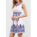 Elegant Sleeveless Round Neck Zip-Back Blue and White Color Block Printed Mini Dress