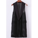New Stylish Hollow Sleeveless Notched Lapel Single Button Plain Blazer Vest