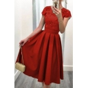 Women's Fashion V-Back Short Sleeve Plain Midi Skater Party Dress
