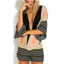 Sexy Plunge V-Neck Striped Color Block 3/4 Length Sleeve Rompers