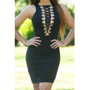 Sexy Cutout Crisscross V-Neck Sleeveless Zip Back Plain Mini Bodycon Dress