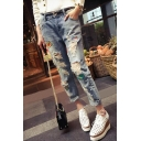 Mid Waist Ripped Cut Out Patched Casual Leisure Jeans