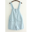 Buttons Down Casual Leisure Cotton Plain Overalls with Pockets