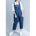 Summer Oversize Casual Loose Plain Denim Overall Pants with Pockets