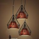 Fifteen Inches Wide Single Light Diamond Shape LED Pendant in Black