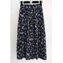 Fashion Elastic Waist Floral Printed Maxi Pleated Skirt