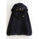 Lovely Cartoon Hooded Long Sleeve Zip Fly Coat with Pockets
