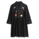 Lapel Collar Long Sleeve Floral Embroidered Lace Buttons Down Shirt Dress