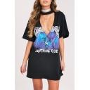 Sexy Plunge Neck Short Sleeve Letter Lightning Printed Mini T-Shirt Dress