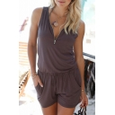 New Stylish Zipper Front Sleeveless Drawstring Waist Plain Rompers with Pockets