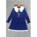 Color Block Peter Pan Collar Long Sleeve A-Line Linen Dress
