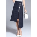 New Arrival Lace-Up Front High Low Asymmetric Hem Striped Midi Skirt