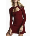 Round Neck Long Sleeve Bow Front Split Side Plain Bodycon Mini Dress