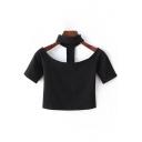 New Fashion Halter Neck Short Sleeve Plain Cropped Slim T-Shirt