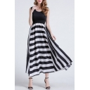 Summer Sleeveless Striped Color Block Round Neck Maxi T-Shirt Dress