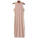 Women's Half High Neck Sleeveless Split Side Plain Midi Dress