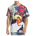 Summer's Colorful Smoke Printed Round Neck Short Sleeve Graphic Tee