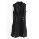 New Arrival Notched Lapel Single Button Sleeveless Plain Tunic Blazer Vest