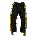 Yellow Letter Sticker Side Elastic Waist Closed Cuff Sports Pants