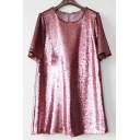 Summer's Sequined Round Neck Short Sleeve Casual Leisure T-Shirt Mini Dress
