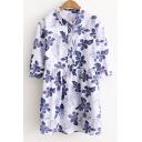 Lapel Collar Half Sleeve Floral Printed Buttons Down Mini Shirt Dress