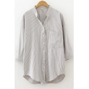 V Neck 3/4 Sleeve Striped Printed Buttons Down High Low Hem Shirt with Single Pocket