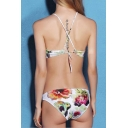 Halter Neck Crisscross Open Back Floral Printed Bikini Swimwear