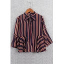 Vertical Striped Color Block 3/4 Length Sleeve Tied Neck Blouse