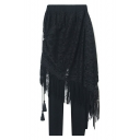 New Fashion Lace Inserted Elastic Waist Plain Pants with Tassel Apron
