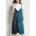 Color Block Spaghetti Straps Split Front Open Back Velvet Midi Slip Dress