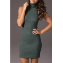 Slim High Neck Sleeveless Cutout Crisscross  Plain Mini Bodycon Sweater Dress