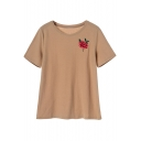 Fashion Embroidery Floral Pattern Short Sleeve Round Neck Off-Duty Tee