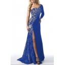 Elegant One Long Sleeve Split Front Plain Lace Maxi Party Dress