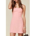 Elegant Spaghetti Straps Sleeveless Plain Mini Cami Dress